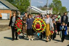 天的庆祝胜利在1941-1945战争中在俄罗斯的卡卢加州地区 免版税库存照片