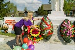 天的庆祝胜利在1941-1945战争中在俄罗斯的卡卢加州地区 库存照片