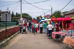 天的庆祝蜂蜜在俄国市Medyn, 2016年8月14日的卡卢加州地区 库存照片