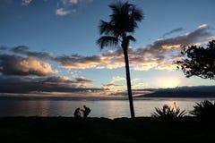 天的松弛结尾在毛伊的婴孩海滩的 库存照片