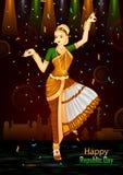 天的1月26日,印度的愉快的共和国印地安舞蹈家 向量例证