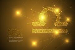 天秤座黄道带标志wireframe多角形框架结构,时运tel 向量例证