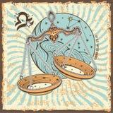 天秤座黄道带标志 葡萄酒占星卡片 免版税库存照片