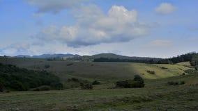 天空、云彩、草甸、光、平原、倾斜和阴影 免版税库存照片
