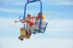 天空乘驾的小丑 图库摄影