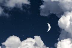 天空云彩和月亮与星,美妙的拼贴画 库存照片