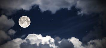 天空云彩和月亮与星,美妙的拼贴画 免版税库存照片