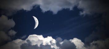 天空云彩和月亮与星,美妙的拼贴画 库存图片