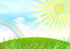 天空和彩虹背景 免版税库存照片