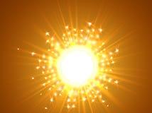 天空和星期日 与爆炸的不可思议的迷离设计发出光线抽象光亮的背景 向量例证