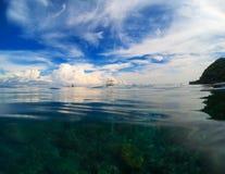 天空和海自然本底 双重风景水和天空照片 图库摄影