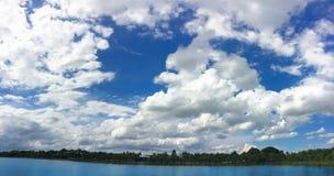 天空和湖背景大海  免版税图库摄影