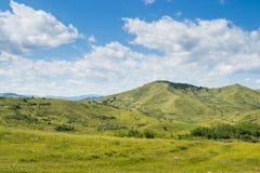 天空和绿色领域和小山 免版税库存图片