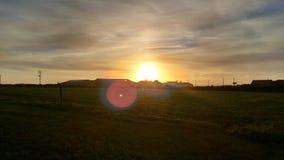 天空在康沃尔郡,由海洋的日落 图库摄影