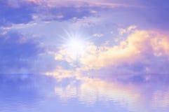 天空太阳海背景 免版税库存照片