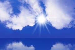 天空太阳海背景 库存图片