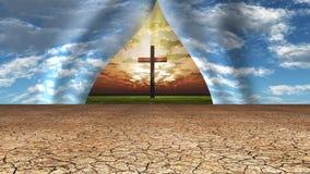 天空撕开显露十字架和地方以远 免版税库存照片