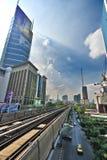 从天空火车站的曼谷都市风景 免版税库存照片