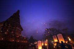 天空灯会清迈泰国, Loy Krathong和伊P 库存照片