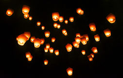 天空灯节在台北 库存照片