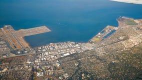 从天空的旧金山机场 免版税库存照片