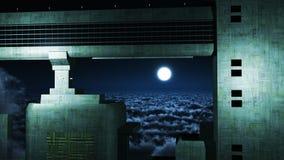天空的未来派城市 库存照片