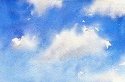 天空的水彩例证与云彩的 艺术性的自然绘画摘要背景 免版税库存照片