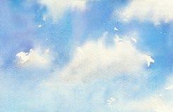 天空的水彩例证与云彩的 艺术性的自然绘画摘要背景 库存图片