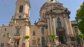 天空背景的多米尼加共和国的大教堂 股票录像