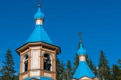 天空背景的木教会 Valaam海岛,卡累利阿,俄罗斯 免版税图库摄影