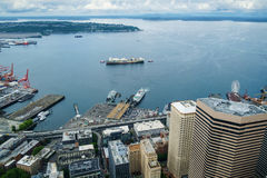 从天空视图观测所的艾略特海湾 免版税库存图片