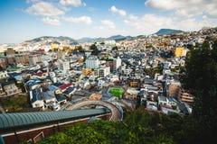 从天空路的看法在长崎市 免版税图库摄影