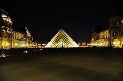 天窗金字塔在夜之前,巴黎,法国, 2018年6月 库存照片