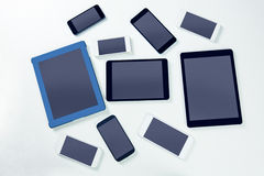 天花板智能手机和片剂 免版税图库摄影