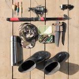 天花板渔夫的精华 Fshing滑车和equipmen 免版税库存图片