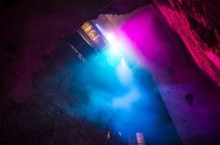 从天花板的五颜六色的光 免版税库存照片