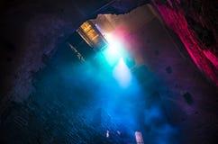 从天花板的五颜六色的光 库存照片