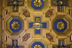 天花板的片段与Lupa Capitolina,阿奎莱亚大教堂, Capitoline博物馆,罗马,意大利的 图库摄影