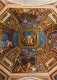 天花板的细节在其中一个梵蒂冈Mus的画廊中 图库摄影