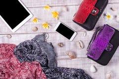 天花板精华在时尚博客作者反对 时尚Python snakeskin提包顶视图,智能手机,片剂 库存图片