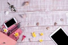 天花板精华在时尚博客作者反对 时尚Python snakeskin提包,智能手机,片剂顶视图  库存照片