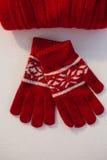 天花板羊毛内衣的帽子和手套 免版税库存照片