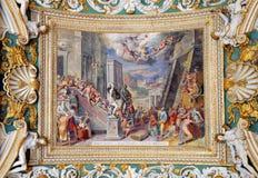 画廊天花板部分在梵蒂冈博物馆 免版税图库摄影