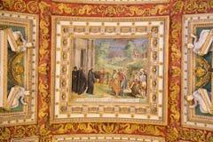 天花板绘画在梵蒂冈 免版税库存图片