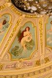 天花板绘画,冥想的片段在歌剧院的 利沃夫州 库存图片