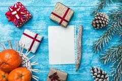 天蓝色木背景,海洋 冷杉绿色结构树 装饰锥体 果子用普通话 信函圣诞老人 免版税库存图片
