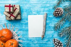 天蓝色木背景,海洋 冷杉绿色结构树 装饰锥体 果子用普通话 信函圣诞老人 库存图片