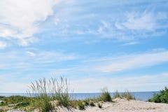 天蓝色的天空和海岸在一个晴天 图库摄影