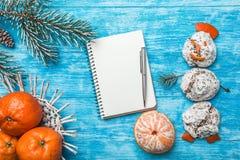 天蓝色的木背景 冷杉绿色结构树 从甜点的雪人 果子用普通话 空间圣诞节消息或新年 库存照片