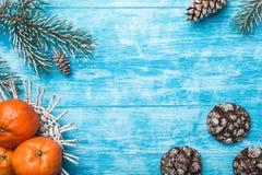 天蓝色的木背景 冷杉绿色结构树 曲奇饼 果子用普通话 圣诞节贺卡和新年 免版税库存图片
